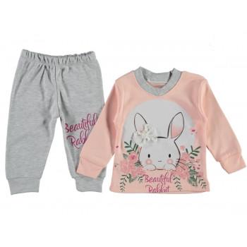 Комплект (реглан+штаны) Кролик Оранжевый 74 80 86 размеры для девочек