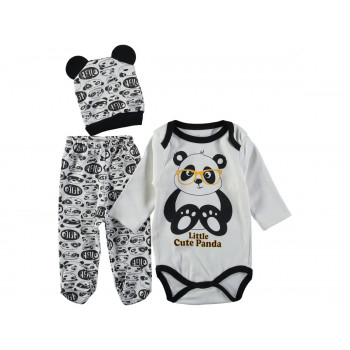 Комплект (шапочка+боди+ползунки) Панда Молочно-черный 62 68 размеры для малышей