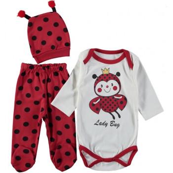 Комплект (шапочка + боди + ползунки) Букашка Молочно-красный 62 68 размеры для девочек