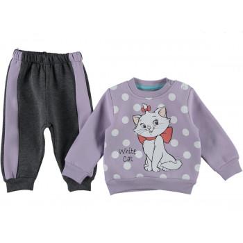 Комплект (реглан + штаны) Котик Фиолетовый 68 74 80 86 размеры для девочек