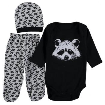 Комплект (шапочка + боди + ползунки) Енот Черный 62 68 размеры для малышей