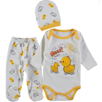 Комплект (шапочка + боди + ползунки) Цыпленок Молочно-желтый 62 68 размеры для малышей