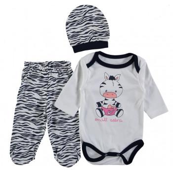 Комплект (шапочка + боди + ползунки) Зебра Молочно-черный 62 68 размеры для малышей