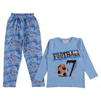 Пижама Футбол Голубая 80 92 98 104 110 116 122 128 134 размеры на мальчика 1 2 3 4 5 6 7 8 9 лет
