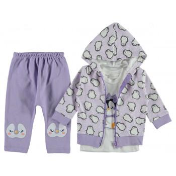 Комплект (кофта + реглан + штаны) Пингвин Фиолетовый 68 74 80 размеры на девочку 3-6, 6-9, 9-12 месяцев