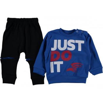 Комплект (свитшот + штаны) Just Черно-синий Двунитка 74 80 86 размеры на мальчика 6-9, 9-12, 12-18 месяцев