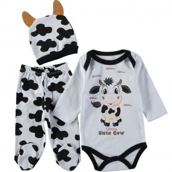 Комплект (шапочка + боди + ползунки) Коровка Молочно-черный 62 68 размеры для малышей