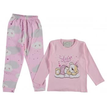 Пижама Sleep time Розовая Интерлок 80 98 122 128 134 размеры на девочку 1 3 7 8 9 лет