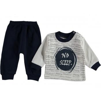 Комплект (кофта + штаны) No Sleep Молочно-черный 62 68 74 размер на мальчика до года
