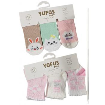 Набор тонких носочков 3 шт YUFUS baby Турция для новорожденных девочек