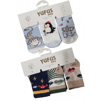 Набор тонких носочков 3 шт YUFUS baby Турция для новорожденных мальчиков