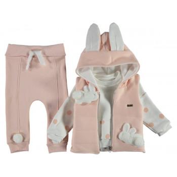 Теплый комплект ( жилетка + свитшот + штаны) Jikko Розовый Трехнитка 74 80 86 размер на девочку 6-9, 9-12, 12-18 месяцев