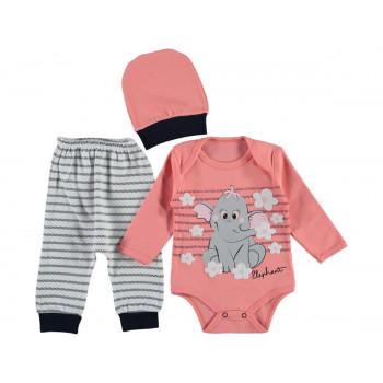 Комплект ( шапочка + боди + штаны) Leylek Малиновый 68 74 размер на девочку 3-6 и 6-9 месяцев