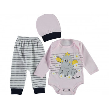Комплект ( шапочка + боди + штаны) Leylek Розовый 68 74 размер на девочку 3-6 и 6-9 месяцев