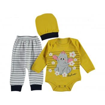 Комплект ( шапочка + боди + штаны) Leylek Горчичный 68 74 размер на девочку 3-6 и 6-9 месяцев