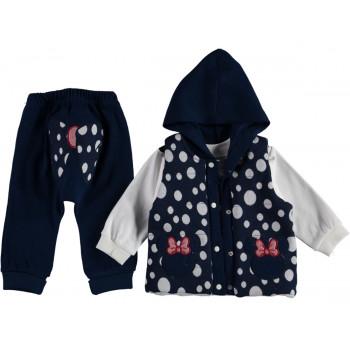 Комплект ( жилетка + свитшот + штаны) Темно-синий Двунитка 74 80 86 размер на девочку 9, 12, 18 месяцев