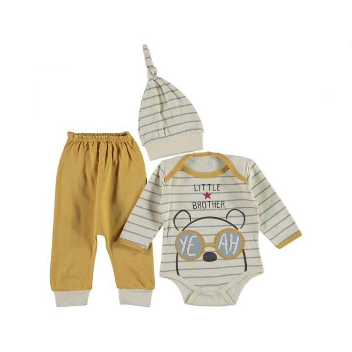 Комплект ( шапочка + боди + штаны) Leylek Little Brother Горчичный 68 размер на мальчика 3-6 месяцев