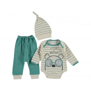 Комплект ( шапочка + боди + штаны) Leylek Little Brother Бирюзовый 68 74 размер на мальчика 3-6 и 6-9 месяцев