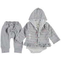 Комплект ( кофта + боди + штаны) Million Серый 68 74 80 размер на девочку 6-9, 9-12, 12 месяцев
