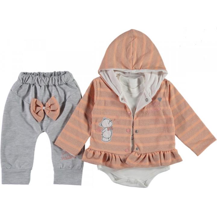 Комплект ( кофта + боди + штаны) Million Розовый 68 74 размер на девочку 6-9, 9-12, 12 месяцев