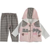 Комплект ( жилетка + реглан + штаны) Pink Luna Розовый 74 80 86 размер на девочку 6-9, 9-12, 12-18 месяцев