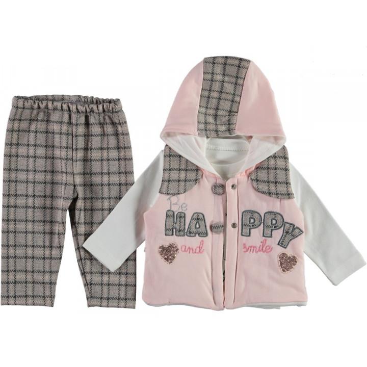 Комплект ( жилетка + реглан + штаны) Happy Розовый 68 80 86 размер на девочку 6, 12, 18 месяцев