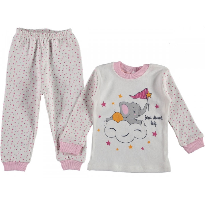 Тонкая трикотажная пижама Слоник Молочная 80 92 98 размер на девочку 1 2 3 года