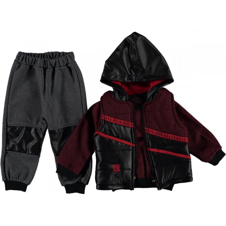 Комплект ( жилетка + реглан + штаны) Brava Красно-черный 74 80 размер на мальчика 6-9, 9-12 месяцев
