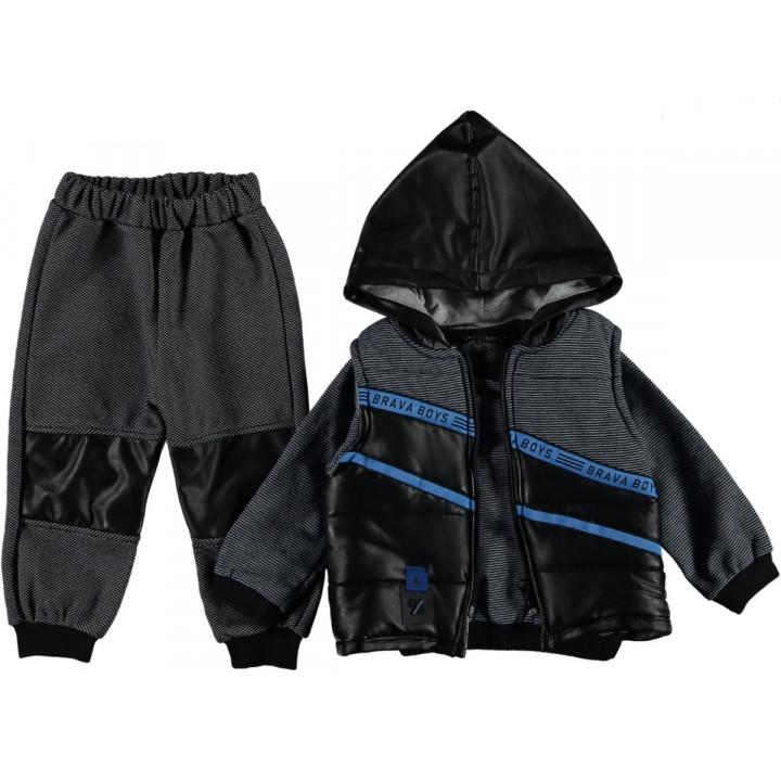Комплект ( жилетка + реглан + штаны) Brava Серо-черный 74 80 размер на мальчика 6-9, 9-12 месяцев