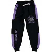 Спортивные штаны Princess Трехнитка Черно-фиолетовые 122 128 134 140 размеры на девочку 7-8-9-10 лет