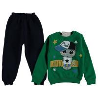 Комплект Yoyo Kids Зелено-черный Двунитка с начесом 74 80 92 98 размер на мальчика 9 месяцев, 1-2-3 года