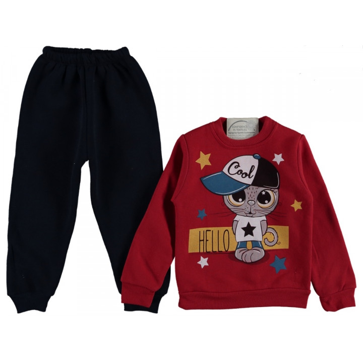 Комплект Yoyo Kids Красно-черный Двунитка с начесом 74 80 92 размер на мальчика 9 месяцев, 1-2 года