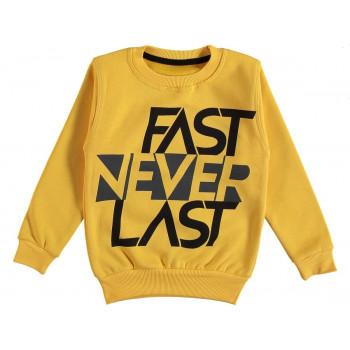 Теплый свитшот Fast Never Last Желтый 2-х нитка с начесом 80 92 98 104 110 116 122 128 размер на возраст 1-2-3-4-5-6-7-8 лет