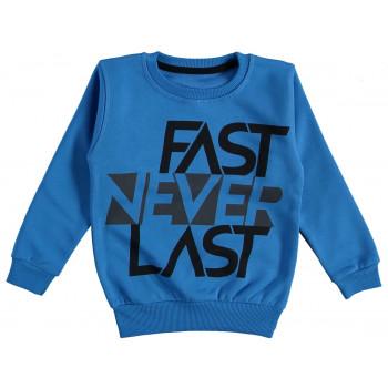 Теплый свитшот Fast Never Last Синий 2-х нитка с начесом 92 98 104 116 размер на возраст мальчика 1-2-3-4-6 лет