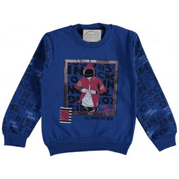 Теплый свитшот CMK Kids Синий Начес 98 116 размер на возраст мальчика 2-3-6 лет