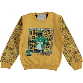 Теплый свитшот CMK Kids Желтый Начес 98 104 110 116 134 140 146 152 размер на возраст мальчика 2-3-4-5-6-7-9-10-11-12 лет