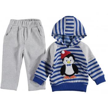 Комплект Пингвин Серо-синий Трехнитка 92 размер на мальчика 2 года