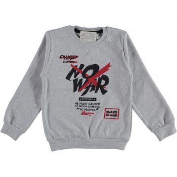 Теплый свитшот No War Серый Начес 98 104 110 116 122 134 140 146 152 размер на возраст мальчика 1-2-3-4-5-6-7-9-10-11-12 лет