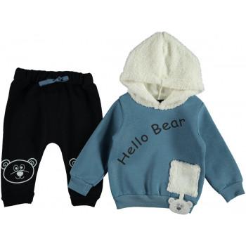 Теплый комплект Hello Bear Черно-синий Трехнитка 92 размер на мальчика 2 года