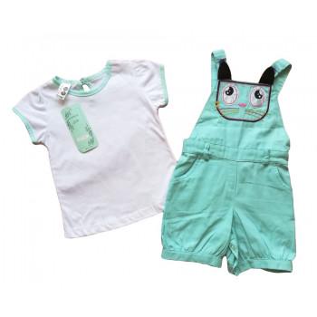Летний бирюзовый полукомбинезон с футболкой для малышей. Размер 68 74
