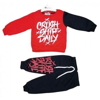 Теплый (ткань трехнитка) красно черный комплект одежды 92 98 104 110 размеры для мальчиков Crush