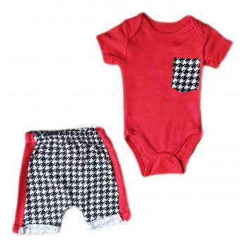 Трикотажный красно серый комплект одежды 62 68 80 размер для мальчиков