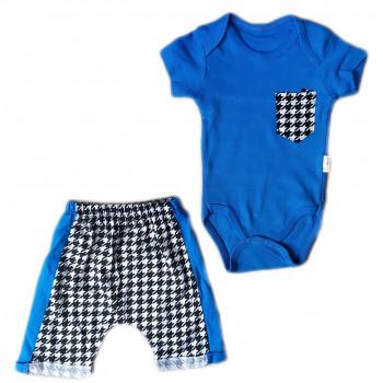Трикотажный серо синий комплект одежды 62 68 74 80 размеры для мальчиков до года