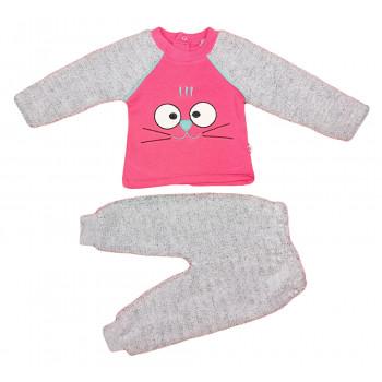 Теплый (ткань велсофт, трехнитка) комплет одежды для девочек Котик Размеры 74 80 86 92
