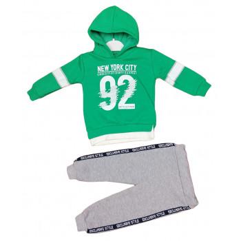 Теплый из ткани трехнитка комплект одежды серо-зеленый