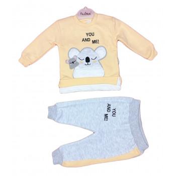 Теплый (ткань трехнитка) желтый комплект одежды для девочек 80 86 92 размеры Ты и Я