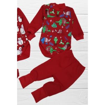 Новогодний костюм для малыша Дино Красный 68 74 80 размеры для малышей 3-6, 6-9, 1 год