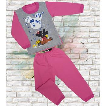 Теплая пижама Микки Маус Розовая Начес 92 - 104 - 116 размеры на девочку 2 - 4 - 5 - 6 лет