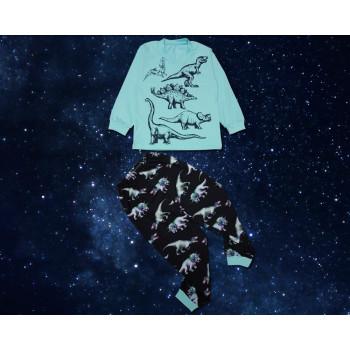Тонкая пижама Дино Черно-мятная Стрейч-Кулир 98 - 110 - 116 размеры 2 - 3 - 5 - 6 - 7 лет