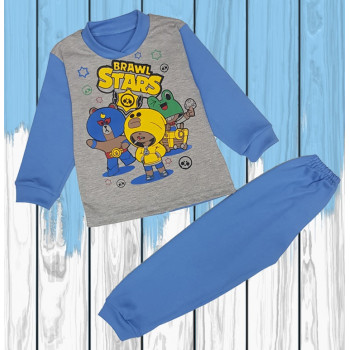 Пижама Brawl Stars Серо-синяя для мальчика 86 - 92 - 104 размеры 1 -1,5 - 2 - 3 - 4 года